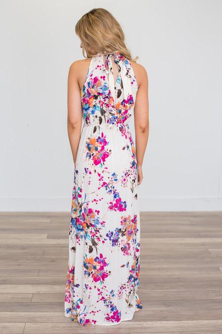 Gardenia Floral Print Maxi Dress - Ivory Multi