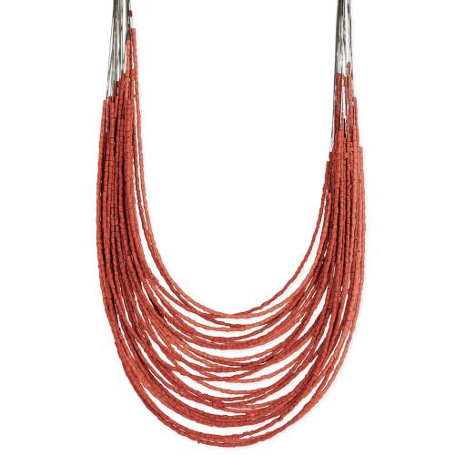 Layered Statement Necklace - Red Orange