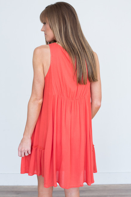 Tassel Tie Lace Up Tank Dress - Red Orange - FINAL SALE