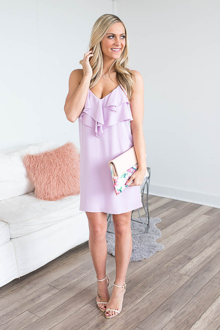 Everly Ruffle Front Slip Dress - Lilac - FINAL SALE