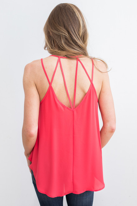 Strappy Back Detail Cami - Red