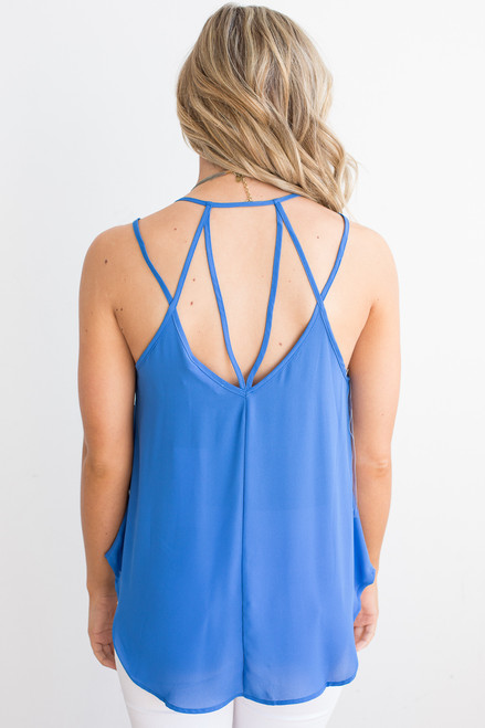 Strappy Back Detail Cami - Blue