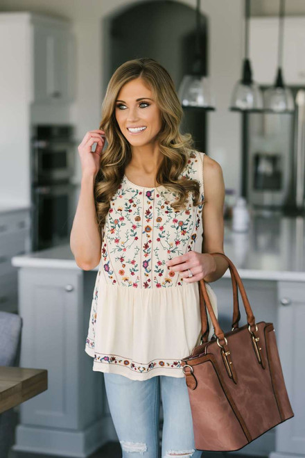 Floral Embroidered Sleeveless Blouse - Cream