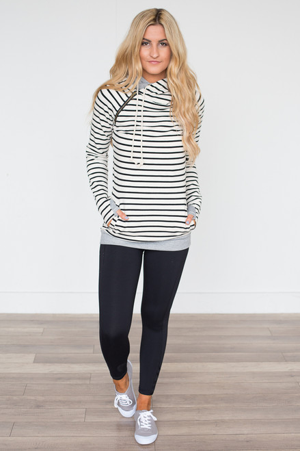 Ampersand Avenue Striped DoubleHood Sweatshirt - Black