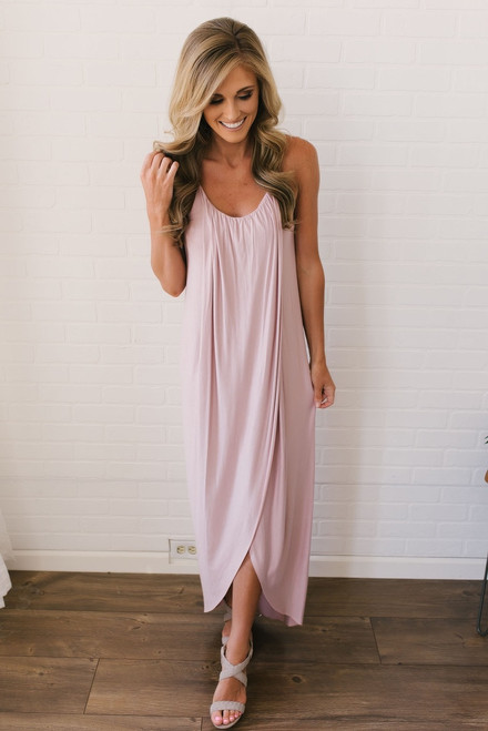 Gathered Front Maxi Dress - Blush