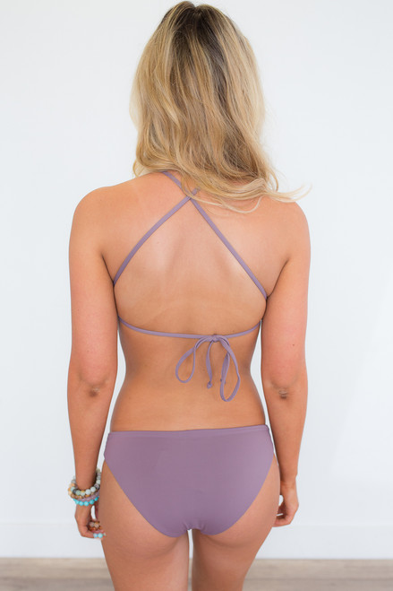 Solid High Neck Bikini Top - Purple Haze