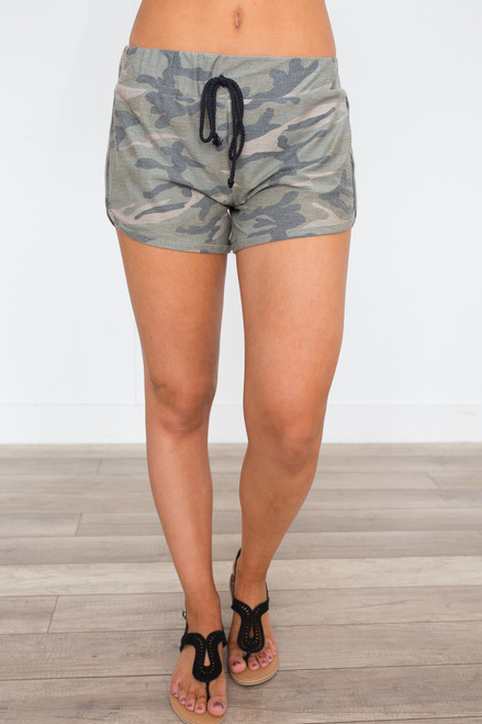 Camo Drawstring Waist Shorts - Olive