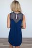 Sleeveless Crochet Front Dress - Navy - FINAL SALE