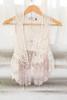 Kids Crochet & Lace Trim Vest - Natural - FINAL SALE