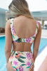 Tropical Floral Tie Front Bikini Top - Ivory Multi