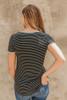 Blakely Contrast Stripe Pocket Tee - Black/Grey - FINAL SALE