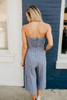 Strapless Tie Front Striped Jumpsuit - Heather Black/White - FINAL SALE