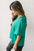 Everly Brighter Days Woven Top - Kelly Green