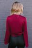 Elena Bell Sleeve Tie Front Top - Burgundy  - FINAL SALE