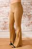 Faux Suede Corduroy Flare Pants - Camel