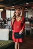 V-Neck Peplum Sleeve Shift Dress - Burgundy
