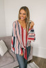 Layered Flare Sleeve Striped Knot Top - Red Multi