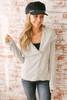 Asymmetrical Zip Up Jersey Jacket - Heather Grey