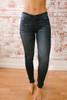 Ocean Wave Faded Skinny Jeans - Dark Wash