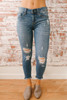 Atlantic Avenue Distressed Skinny Jeans - Medium Wash