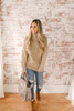 Hadley Turtleneck Cable Sleeve Sweater - Taupe