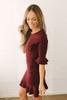 Eve Peplum Sleeve Ribbed Knit Dress - Heather Burgundy