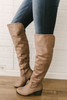 Faux Suede Over the Knee Boots - Taupe