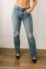 Wild Child Distressed Flare Jeans - Medium Wash