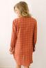 V-Neck Pocket Geometric Print Dress - Rust/Black
