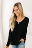 V-Neck Seam Detail Sweater - Black