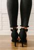 Faux Nubuck Ankle Strap High Heels - Black