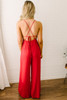 Posh in the City Open Back Jumpsuit - Red