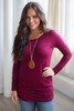 Long Sleeve Ruched Knit Tunic - Wine - FINAL SALE