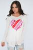 Long Sleeve Printed Heart Burnout Top - Oatmeal/Multi - FINAL SALE