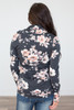 Cowl Neck Floral Pullover- Charcoal/Peach