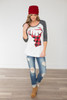 Reindeer Baseball Sleeve Tee - Charcoal/Red