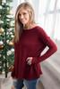 Lightweight Piko Sweater - Burgundy - FINAL SALE