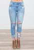 Destroyed Ankle Skinny Jeans - Light Wash