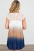 Lace Trim Dip Dye Dress - Ivory/Navy/Tan - FINAL SALE