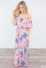 Floral Print Off The Shoulder Maxi Dress - Dusty Pink