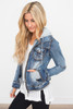 Sweatshirt Hooded Denim Jacket - Medium Wash
