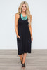 Solid Racerback Midi Dress - Black