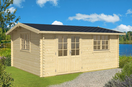 The Devonshire 54 Log Cabin from Lasita Maja has 44mm logs and measures to 5m x 4m.