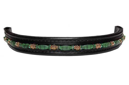 Browband Fancy Matt Green Tiger Design