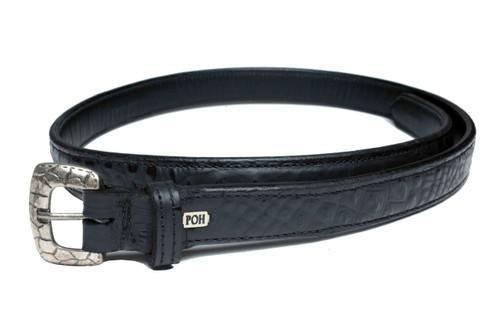 """Embossed Belt Alligator Black 1"""" Design"""