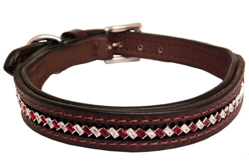 Dog Collar Large Diagonal Red Clear Design