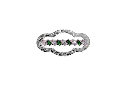 Stock Pin Diagonal Emerald Clear Medium Scallop Design