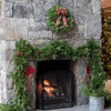 Country Plaid Fresh Christmas Wreath on Fireplace