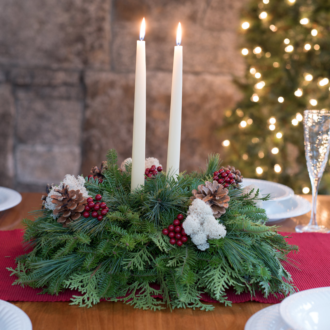winterberry centerpiece with pine cones reindeer moss faux winterberries and ivory candles - Christmas Table Centerpieces