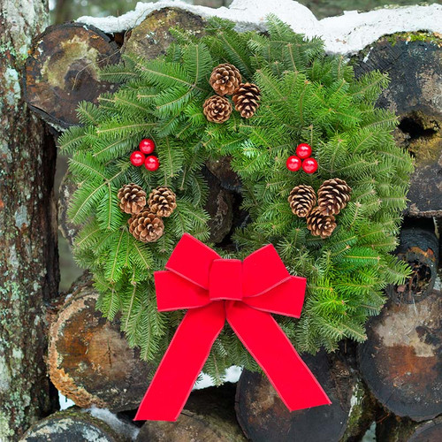 Downeaster Maine Fresh Classic Christmas Wreath with Red Bow